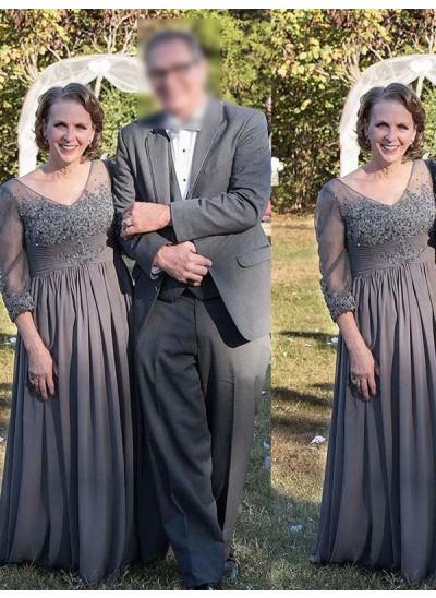 A-Linien-/Princess-Stil V-Ausschnitt Dreiviertelärmel Bodenlang Chiffon Brautmutterkleides mit Applikationen