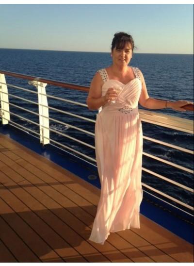 A-Linien-/Princess-Stil Träger Ärmellos Bodenlang Chiffon Brautmutterkleid mit Perlenstickereien