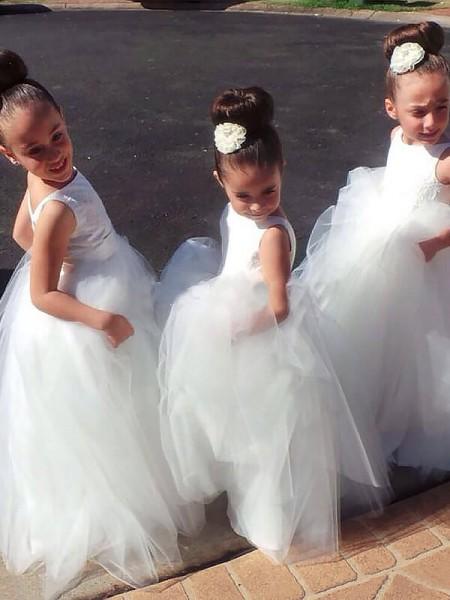 Duchesse-Stil Juwel-Ausschnitt Ärmellos Bodenlang Tüll Blumenmädchenkleid