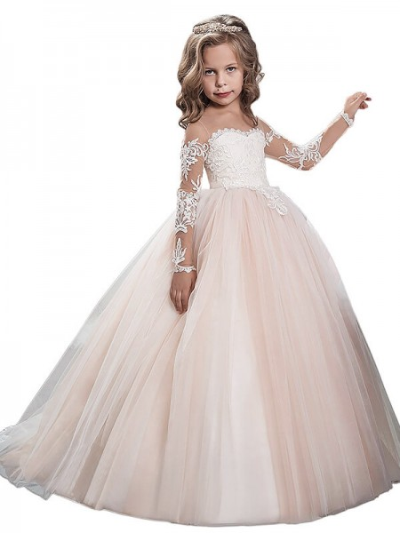 Duchesse-Stil U-Ausschnitt Lange Ärmel Bodenlang Tüll Blumenmädchenkleid