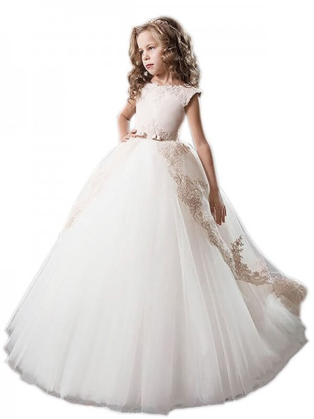 Duchesse-Stil U-Ausschnitt Tüll Applikationen Bodenlang Ärmellos Blumenmädchenkleid