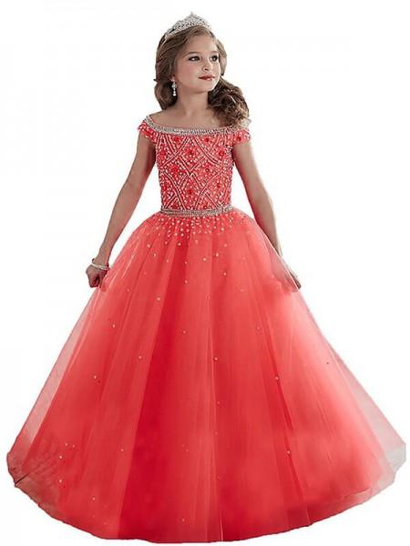 Duchesse-Stil Schulterfrei Ärmellos Perlenstickereien Bodenlang Tüll Blumenmädchenkleid