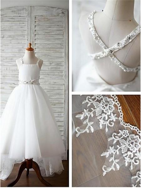 A-Linien-/Princess-Stil Spaghetti Träger Pinselschleppe Organza Blumenmädchenkleid mit Perlenstickereien
