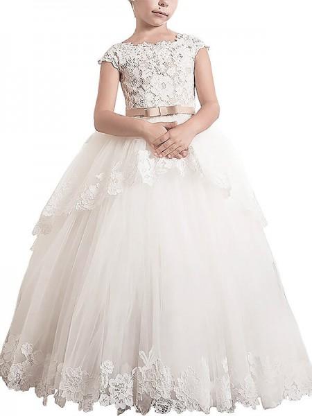 Duchesse-Stil Ärmellos U-Ausschnitt Bodenlang Tüll Blumenmädchenkleid mit Spitze