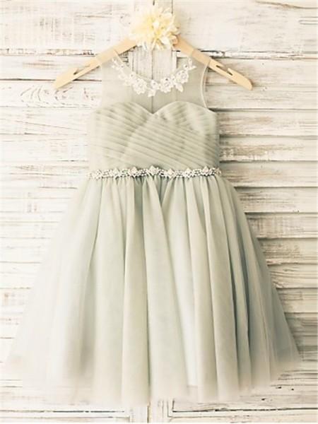 A-Linien-/Princess-Stil U-Ausschnitt Wadenlang Tüll Blumenmädchenkleid mit Strasssteine Perlenstickereien