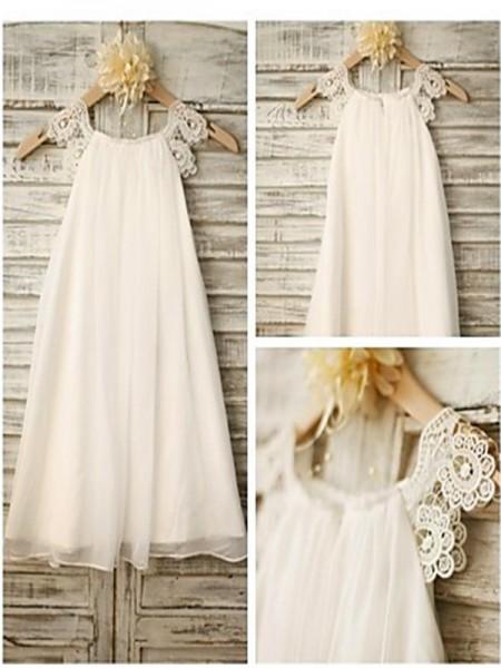 A-Linien-/Princess-Stil U-Ausschnitt Spitze Bodenlang Chiffon Blumenmädchenkleid mit Strasssteine