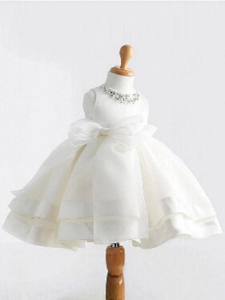 Duchesse-Stil Juwel-Ausschnitt Ärmellos Schleifen Bodenlang Satin Blumenmädchenkleid