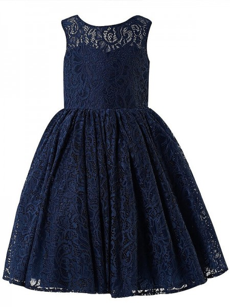 A-Linien-/Princess-Stil U-Ausschnitt Ärmellos Bodenlang Blumenmädchenkleid mit Spitze