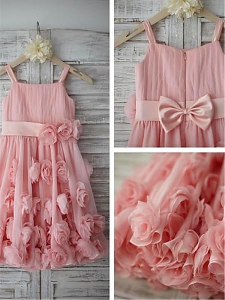 A-Linien-/Princess-Stil Spaghetti Träger Bodenlang Chiffon Blumenmädchenkleid mit Rüschen