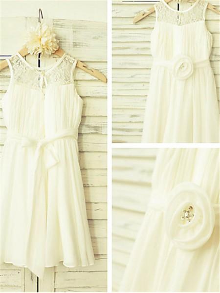 A-Linien-/Princess-Stil U-Ausschnitt Bodenlang Chiffon Blumenmädchenkleid mit Perlenstickereien Handgemachte Blumen