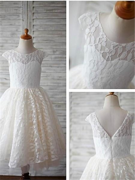 A-Linien-/Princess-Stil U-Ausschnitt Kurze Ärmel Bodenlang Spitze Blumenmädchenkleid mit Perlenstickereien