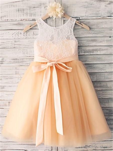 A-Linien-/Princess-Stil U-Ausschnitt Bodenlang Tüll Blumenmädchenkleid mit Perlenstickereien