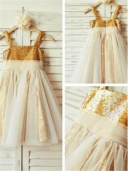 A-Linien-/Princess-Stil Spaghetti Träger Bodenlang Pailletten Blumenmädchenkleid mit Perlenstickereien Rüschen