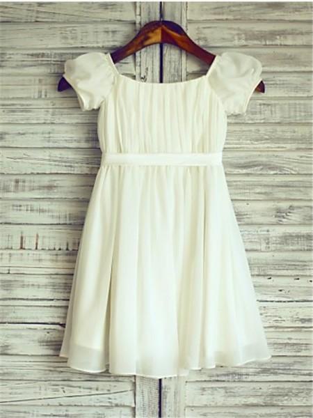 A-Linien-/Princess-Stil Rechteckiger Ausschnitt Kurze Ärmel Wadenlang Chiffon Blumenmädchenkleid mit Perlenstickereien Rüschen