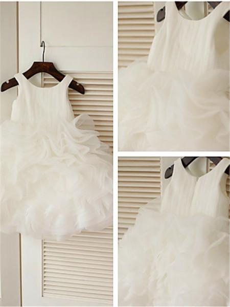 Duchesse-Stil U-Ausschnitt Schichten Wadenlang Organza Blumenmädchenkleid mit Perlenstickereien