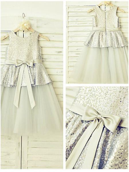 A-Linien-/Princess-Stil U-Ausschnitt Ziermünzen Bodenlang Tüll Blumenmädchenkleid mit Perlenstickereien
