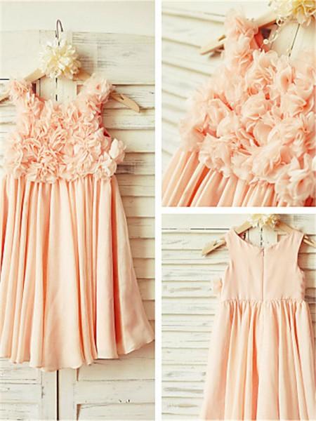 A-Linien-/Princess-Stil Träger Bodenlang Chiffon Blumenmädchenkleid mit Perlenstickereien
