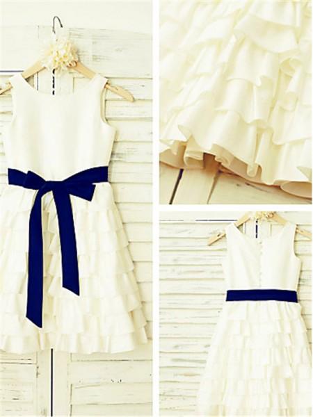 A-Linien-/Princess-Stil Träger Schichten Wadenlang Chiffon Blumenmädchenkleid mit Falten