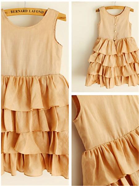 A-Linien-/Princess-Stil U-Ausschnitt Wadenlang Chiffon Blumenmädchenkleid mit Rüschen Schichten