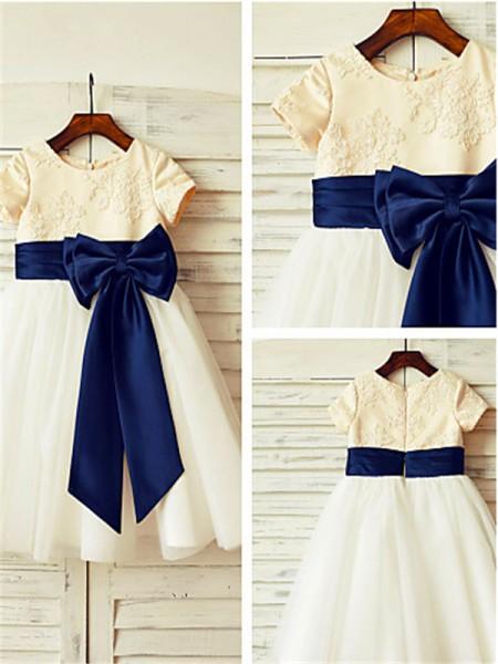 A-Linien-/Princess-Stil U-Ausschnitt Kurze Ärmel Bodenlang Tüll Blumenmädchenkleid mit Strasssteine