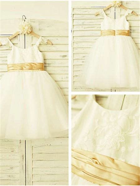 A-Linien-/Princess-Stil Spaghetti Träger Spitze Wadenlang Tüll Blumenmädchenkleid mit Perlenstickereien