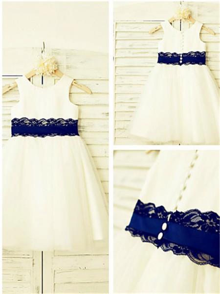 A-Linien-/Princess-Stil U-Ausschnitt Spitze Wadenlang Tüll Blumenmädchenkleid mit Perlenstickereien