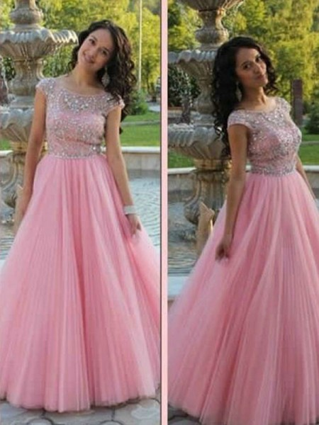 A-Linien-/Princess-Stil U-Ausschnitt Bodenlang Tüll Abendkleid mit Perlenstickereien