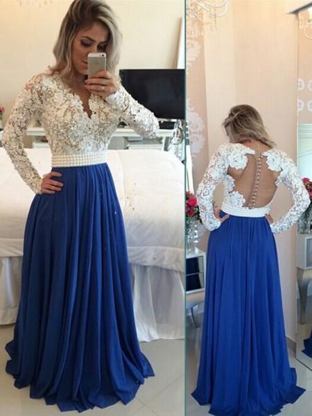 A-Linien-/Princess-Stil V-Ausschnitt Pinselschleppe Chiffon Abendkleid mit Perlen