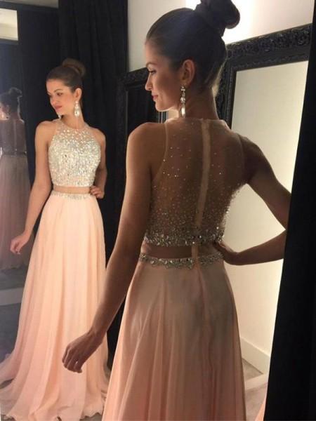 A-Linien-/Princess-Stil U-Ausschnitt Pinselschleppe Chiffon zweiteilige Abendkleid mit Perlenstickereien