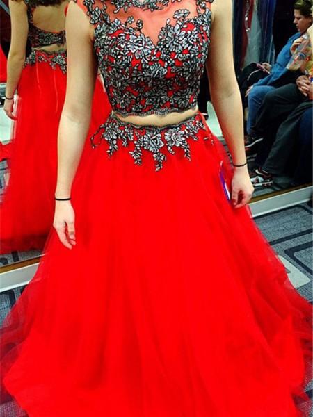 A-Linien-/Princess-Stil U-Ausschnitt Bodenlang Satin zweiteilige Kleid mit Applikationen