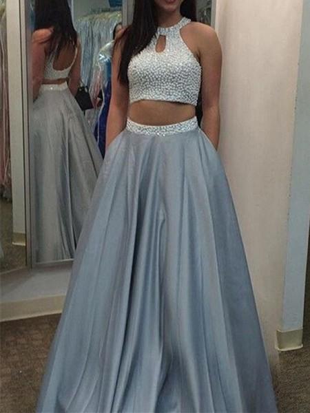 A-Linien-/Princess-Stil Neckholder Bodenlang Satin zweiteilige Kleid mit Perlenstickereien