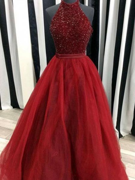 Duchesse-Stil Stehkragen Bodenlang Organza Abendkleid mit Perlenstickereien
