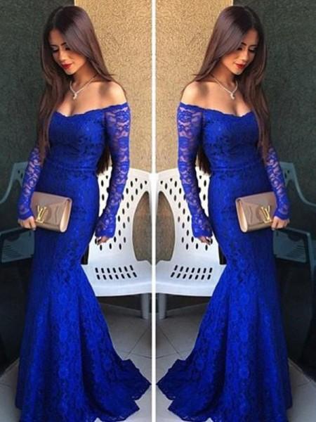 Trompeten-/Meerjungfrauenkleider Schulterfrei Bodenlang Spitze Abendkleid mit Spitze