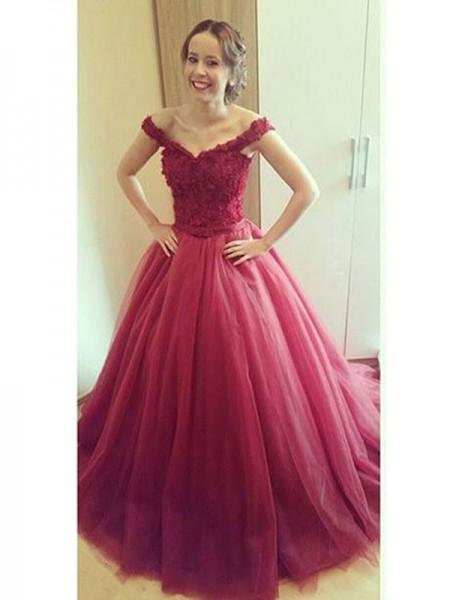 Duchesse-Stil Schulterfrei Bodenlang Tüll Abendkleid mit Applikationen