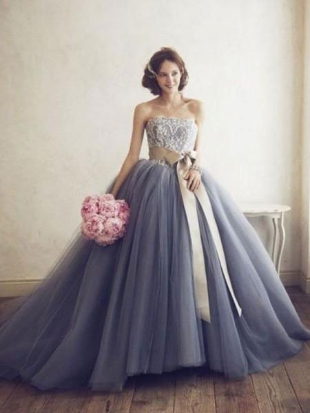 Duchesse-Stil Herzausschnitt Bodenlang Tüll Abendkleid mit Applikationen