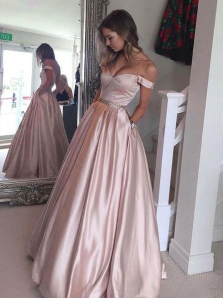 A-Linien-/Princess-Stil Schulterfrei Ärmellos Pinselschleppe Satin Abschlussballkleid mit Perlenstickereien