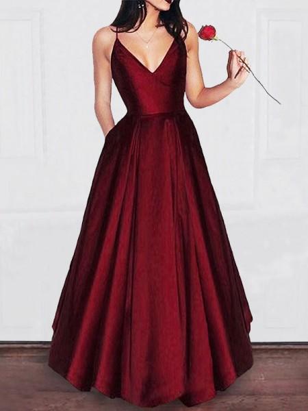 A-Linien-/Princess-Stil V-Ausschnitt Ärmellos Bodenlang Satin Abendkleid mit Rüschen