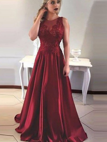 A-Linien-/Princess-Stil U-Ausschnitt Pinselschleppe Satin Ärmellos Abendkleid mit Applikationen