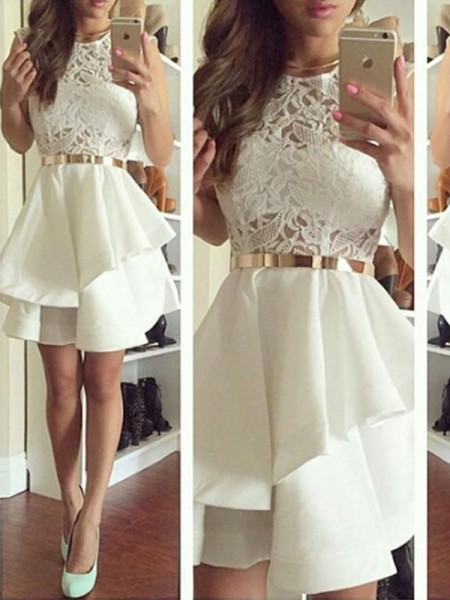 A-Linien-/Princess-Stil V-Ausschnitt Satin Ärmellos Knielang Kleid mit Applikationen Peplum