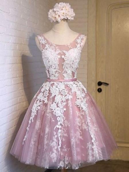 A-Linien-/Princess-Stil U-Ausschnitt Tüll Ärmellos Kurze/Mini Kleid mit Applikationen