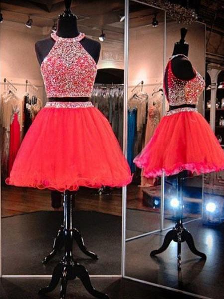 A-Linien-/Princess-Stil Neckholder Tüll Ärmellos Kurze/Mini Zwei Stück Kleid mit Perlenstickereien