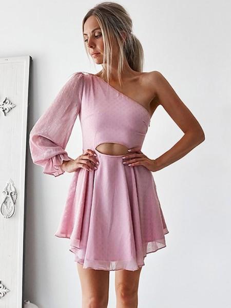 A-Linien-/Princess-Stil One-Shoulder-Träger Chiffon Lange Ärmel Kurze/Mini Kleid mit Rüschen